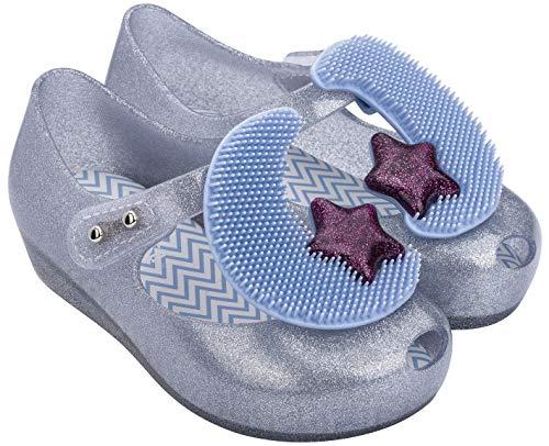 Melissa Mini Ultragirl Moon BB Shoes, Silver Glitter Clear/Blue, Size 11 Little Kid