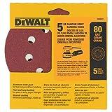 DEWALT DW4301 5-Inch 8 Hole 80 Grit Hook and Loop Random Orbit Sandpaper, 5-Pack, Beige