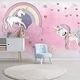 Papel Tapiz 3D Rosa Chica Unicornio Habitación De Los Niños Papel Pintado Arco Iris Cielo Estrellado Fondo Pintura De La Pared Paraíso De Los Niños Decorativo Revestimiento De Paredes,400cmx280cm