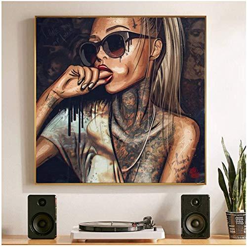 NJYBF Druck auf Leinwand Cool Sexy Girl Tattoo Bilder Pop Art Abstrakt Moderne Leinwand Malerei Graffiti Street Wandkunst für Home Wandbilder Decor Kein Rahmen. (A,80x80cm)
