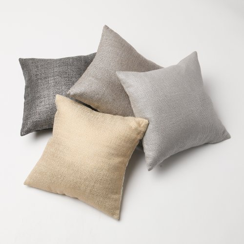"Best Home Fashion Closeout Metallic Weave Pillow - Insert Not Included - Cream - 18"" W x 18"" L - (2 Pillow Covers)"
