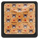 Bonitas pomos cuadrados de manzanilla para armarios de cocina, 3 piezas de manijas de cajones, Lindo perro chihuahua, 3.5 × 2.8cm / 1.38 × 1.1in