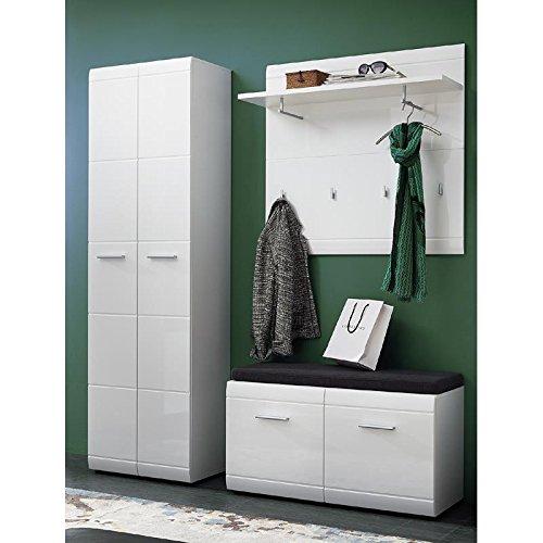 Lomado Komplett Garderoben Set ● 3-teilige Flurgarderobe Flurmöbel in Hochglanz weiß ● Bank inkl. Polster, Paneel, Kleiderschrank ● Made in Germany