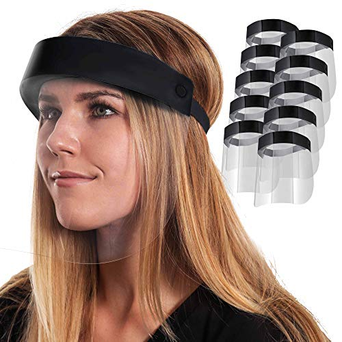 Salon World Safety Black Face Shields (Pack of 10) - Ultra Clear Protective Full Face Shields to Protect Eyes, Nose and Mouth - Anti-Fog PET Plastic, Elastic Headband - Sanitary Droplet Splash Guard