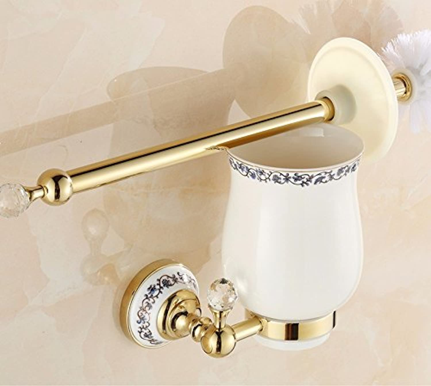 Lx.AZ.Kx Toilet Brush and Holder with long handle for Bathroom Toilet The Copper?Continental?Crystal Toilet?The Bathrooms?Mount?pink goldd