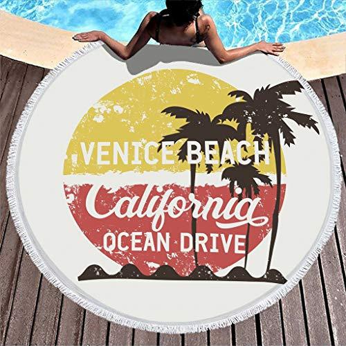 Venice Beach Palmen California - Toalla de playa redonda con flecos (150 cm), color blanco