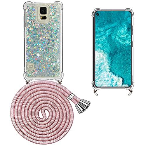 Mkej Flüssig Treibsand Handykette Kompatibel mit Samsung Galaxy S5, TPU Silikon Back Cover mit Glitter Flüssigkeit Necklace Schutzhülle