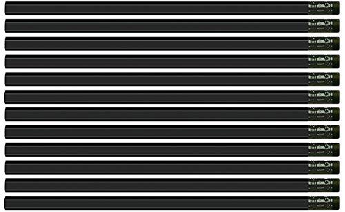 Black Matte Hexagon #2 Pencil, Eraser. Wooden. Non Toxic. 36 Pack. Express Pencils