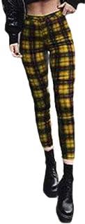 ZXFHZS Women's Long-Pants Leggings Sports Plaid Sweatpants Yoga Gym Pants