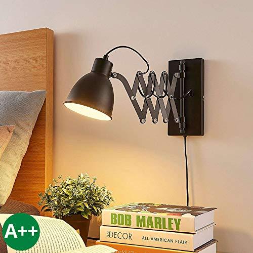 Lindby Wandleuchte, Wandlampe Innen 'Merle' (Modern) in Schwarz aus Metall u.a. für Schlafzimmer (1 flammig, E14, A++) - Wandstrahler, Wandbeleuchtung/Wohnzimmer, Schlafzimmerleuchte