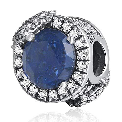 YDMZMS Auténtico Encanto de Copo de Nieve de Plata esterlina 925 Deslumbrante, Azul crepuscular y cristalino Claro de la CZ Brazalete de la Pulsera Brazalete de joyería de Bricolaje