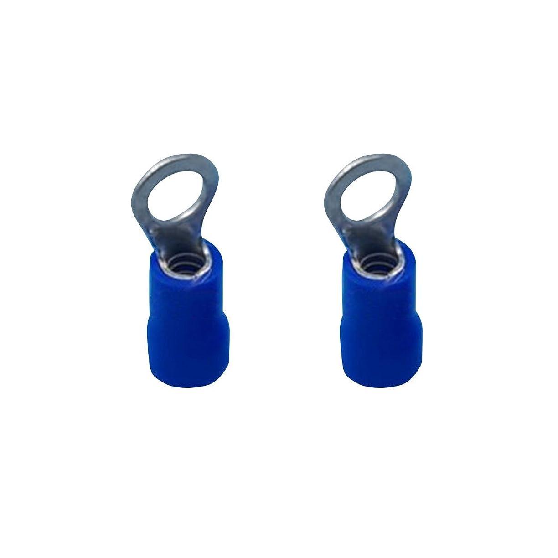 ハント微妙オーディション約100PCS 絶縁 リング 電気圧着 16-14AWG電線 端子 コネクタ ブルー