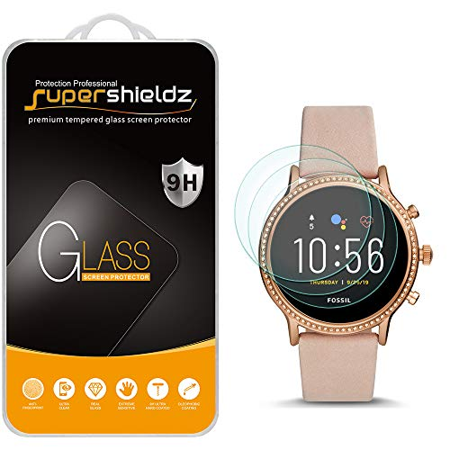 (3 Pack) Supershieldz Designed for Fossil Gen 5 Smartwatch Julianna HR Tempered Glass Screen Protector, Anti Scratch, Bubble Free