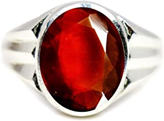Jewelryonclick 6.5 Carat Real Hessonite Garnet Silver Mark Rings for Men's in Size 5,6,7,8,9,10,11,12,13