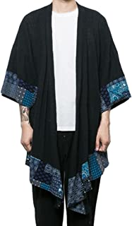 Hzcx Fashion Men's Cotton Linen Blends Vintage Cloak Open Front Coat