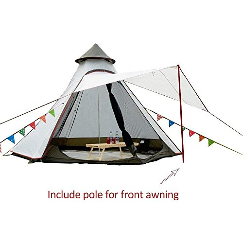 TentHome Waterproof Double Layers Teepee Tent Outdoor Camping 3.1M/10ft Family Tent Pyramids Indian Tent With fixed Groundsheet (White)