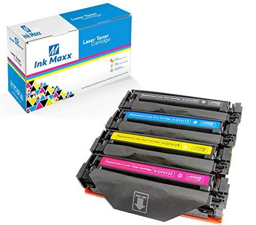 Ink Maxx kompatible Toner als Ersatz für HP 410X CF410X / CF411X / CF413X / CF412X (Schwarz/ Cyan/ Magenta/ Gelb 4-Pack)