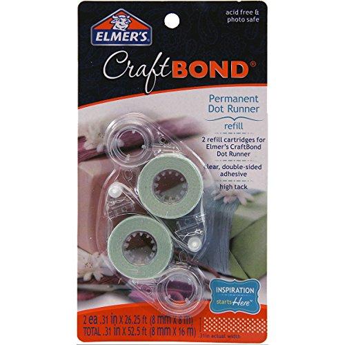 Elmer's Craftbond Permanent Dot Runner Refill, 26-1/4 Feet, 2 Per Pack, Clear (E4011)