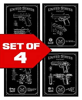 Wallables Black Handgun Patents Decor Set of Four 8x10 Gun Themed Decorative Prints Glock Sig Sauer Colt Smith & Wesson Great for Bachelor pad Office Living Room.