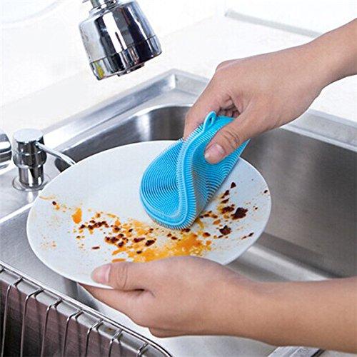 Generic Bluee - Cepillo de silicona mágica multifonction para platos de limpieza con cepillo para fregar, olla, sartenes, cepillos, accesorios de cocina