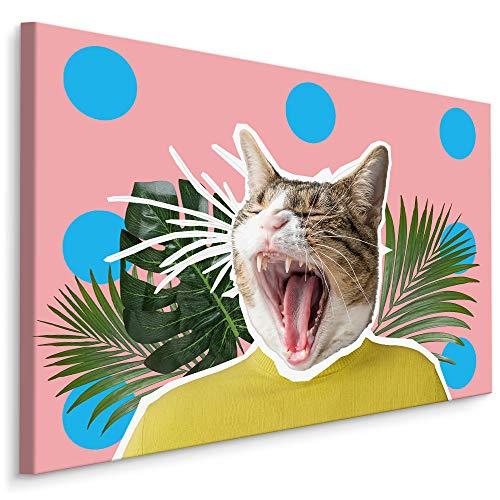 Muralo Cuadro en lienzo 40 x 30 animales gato moderno lienzo arte arte abstracto suéter geométrico dormitorio salón pared diseño XXL 321 Br. 40 cm x altura 30 cm