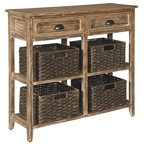 Signature Design by Ashley - Oslember Console Sofa Table - Farmhouse Style - 4 Woven Baskets - Brown