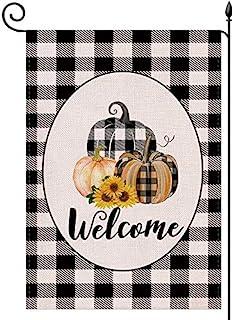 YaoChong Welcome Fall Pumpkin Garden Flag Autumn Harvest Sunflowers 12.5x18 Inch, Black White Buffalo Check Plaid Vertical...