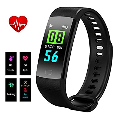 Hizek Fitness Tracker, Activity Tracker with Heart Rate Monitor Wireless IP67 Waterproof Smart Wrist and Pedometer Bracelet with Sleep Monitor/Step Counter/Calories Track/GPS Tracker for Android and