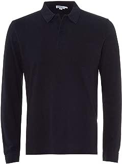 Sunspel Riviera Long Sleeve Cotton Polo Shirt in Navy Blue