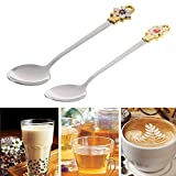 Spoon Soup - Stainless Steel Coffee Tea Spoon Flower Ice Cream Scoop Drinking Utensil Cutlery Tableware - Icecream Herbs Thick Minnesota Organizer Wall Coffee Salts Ladel Large Book Cream
