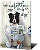 Animal Funny Poster Canvas Wall Art Cute Dog Reading Newspaper on Toilet Moder Print Pictures Painting Home Decor for Babyroom Office Bathroom Living Room (Canine Dog,16x24inch-Framed)