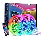 Tiras LED RGB 5050, Tasmor Bluetooth Luces LED 12M(6M*2) para Habitacion, Función Música, Temporización, Control de APP y IR Control Remoto, para Hogar, Bar, Fiesta, Interior Decoración