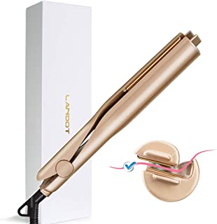 LANDOT Professional Curling Irons Hair Straightener Twist 2-in-1 Hair Curlers & Straightening Iron Hair Styling Tools Dual Voltages with 3D Concave and Convex Titanium-Plated 1 Inch Color Gold