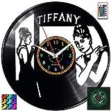 EVEVO Breakfast at Tiffany's Orologio da Parete RGB LED Pilot Orologio da Parete vinilico Disco retrò Realizzato a Mano Vintage Regalo Decorazione per la casa Bellissimo Regalo Orologio