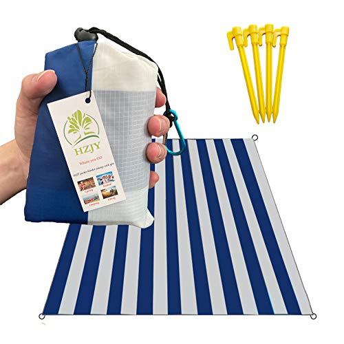 """HZJOYUE Outdoor Blanket (71"""" x 55"""") -Compact, Lightweight, Sand Proof Pocket Blanket Best Mat for The Beach, Hiking, Travel, Camping, Festivals with Pockets, Loops, Stakes, Carabiner (White Blue)"""