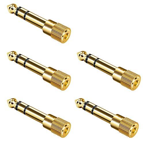 """Klinke Adapter 3,5mm auf 6,35mm für Piano 5 Stück, Ancable 6,35mm 1/4"""" Klinken Stecker auf 3,5mm 1/8""""Klinken Buchse aux Audio Adapter mit Vergoldete Kontakte für Keyboard Kopfhörer Lautsprecher amp"""