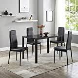 Recaceik 5 Piece Kitchen Dining Room Sets, Modern Black Metal Kitchen Table w/Glass Table Top Dining Table Set for 4, Perfect for Breakfast Nook Small Spaces