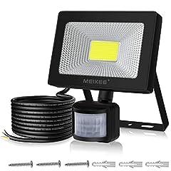 Projecteur LED 10W MEIKEE 10W avec détecteur de mouvement 1000LM super-lumineux LED inondation IP66 imperméable projecteurs en aluminium projecteurs lumière lumière lampe murale pour jardin garage terrain de sport