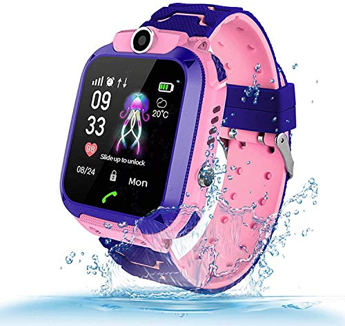 TLLAYGM Bambini Smartwatch. Kids Smart Watch Phone per Bambini IP67 Impermeabile GPS/LBS Android SOS Touch Screen Anti-Lost watch, Ragazzi e ragazze di Smart watch Kids Regalo (Rosa)