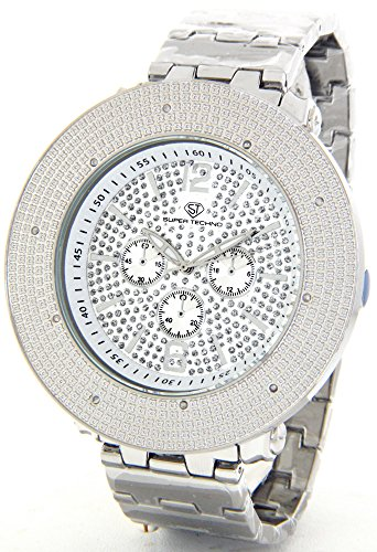 Super Techno Diamond Watch Mens Genuine Diamond Watch Oversized Silver Case Metal Band w/ 2 Interchangeable Bands