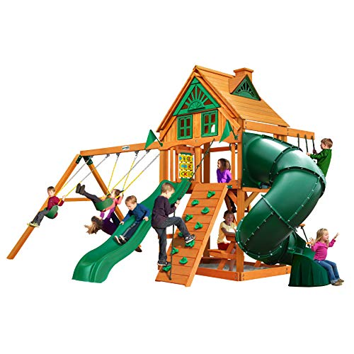 Gorilla Playsets 01-0053-AP Mountaineer Treehouse Wood Swing Set with Wood Roof, Tube Slide, and Rock Wall, Amber