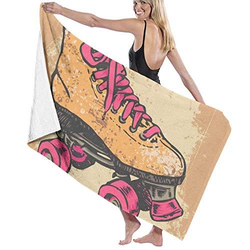 cleaer Strandtuch Decke Schnell Schnell Trocken Super Saugfähig Leichte Dünne Handtücher für Reise Pool Schwimmen Bad Camping Yoga Gym Sport Idee Retro Rollschuh