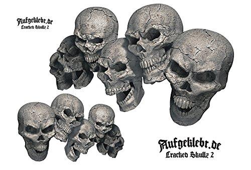 Skull Totenkopf Aufkleber Set - Cracked Skullz 02