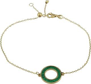 Gioiello Italiano - Bracciale in oro giallo 14kt con pietre naturali a scelta, lunghezza regolabile tra 11 e 20cm, per don...