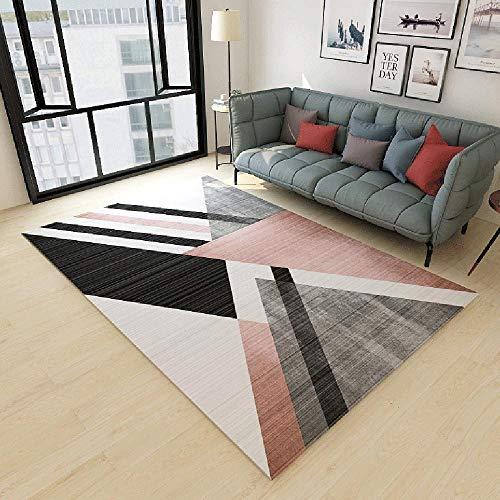 La alfombras Rugs for Living Room Alfombra Duradera de diseño geométrico Rosa Gris Negro Antideslizante recibidor Pasillo Entrada Alfombra de habitacion 180X280CM
