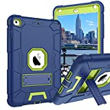 iPad Mini 4 Case,iPad Mini 4 Retina Case,iPad Mini 5 Case,BENTOBEN 3 in 1 Hybrid [Soft&Hard] Heavy Duty Rugged Shockproof Anti-Scratch Protective Kickstand Cases for iPad Mini 4/5,Navy Blue/Green