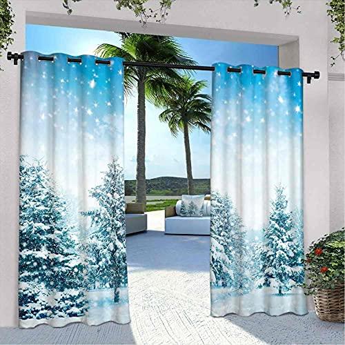 Cortinas de invierno para patio al aire libre, abetos cubiertos de nieve en la montaña Blizzard Arctic Woodland Tranquil Outdooors, para dormitorio, sala de estar, porche, pérgola, 120 x 72 pulgadas