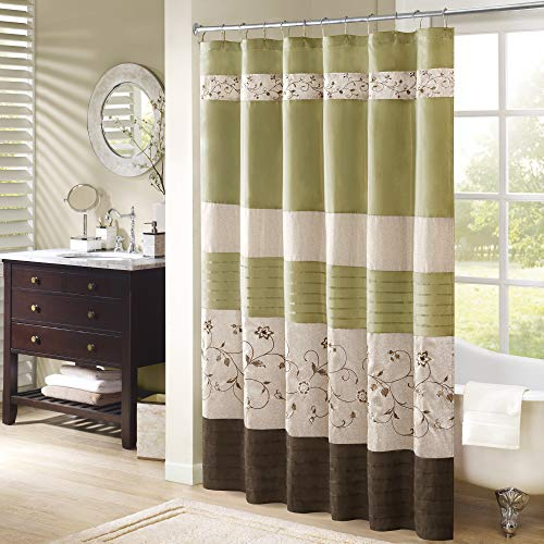 Madison Park Serene Shower Curtain Faux Silk Embroidered Floral Machine Washable Modern Home Bathroom Decorations, 72x72, Green