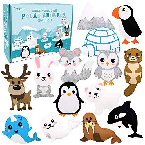 CiyvoLyee Polar Animals Sewing Kit for Kids Make Your Own Winter Polar Animals Felt Craft Kit for Beginners Educational Sewing Set Fun DIY Educational Gift for Boys and Girls Set of 14