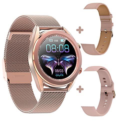 HQPCAHL Fitness Smartwatch Responder Llamadas,1,09'' Bluetooth Reloj Inteligente Medidor De Frecuencia Cardíaca Presión Arterial Oxígeno En Sangre Contador De Calorías, Impermeable IP68 Reloj,Oro
